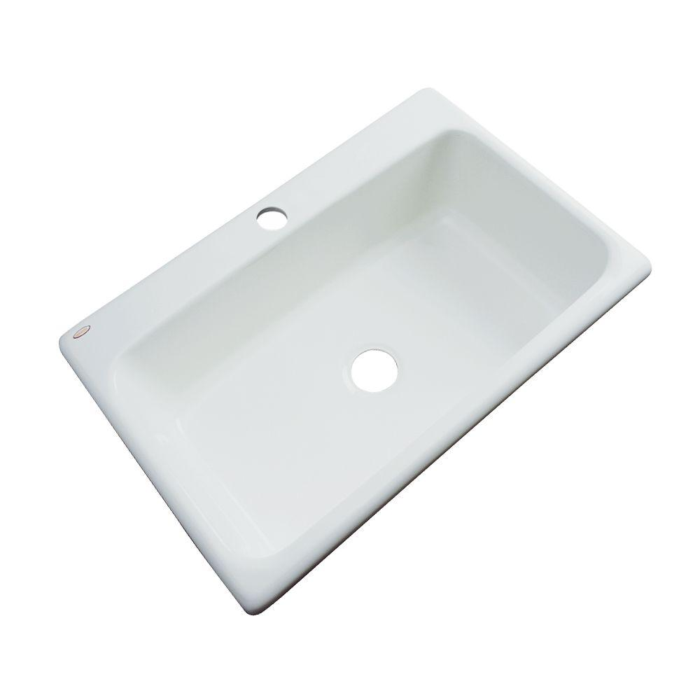 Thermocast Manhattan Drop-In Acrylic 33 in. 1-Hole Single Basin Kitchen Sink in Ice Gray