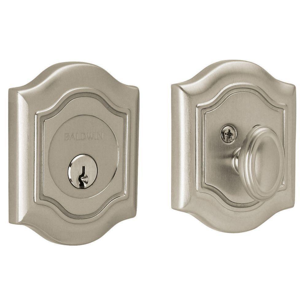 2-1/8 in. Bethpage Single Cylinder Door Prep Satin Nickel Deadbolt