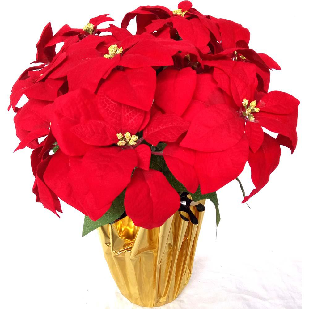 Home Accents Holiday 21 in. Unlit Silk Poinsettia Arrangement in Red