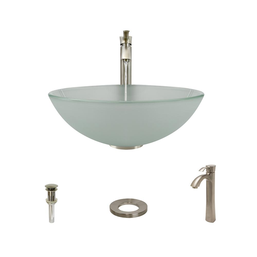 MR Direct Glass Vessel Sink in Frost with 726 Faucet and Pop-Up Drain in Brushed Nickel