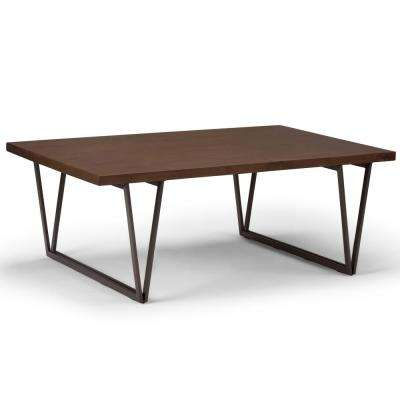 Ryder Solid Wood and Metal 50 in. Wide Industrial and Metal Modern Indsutrial Coffee Table in Natural Aged Brown