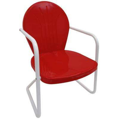 Retro Red Metal Patio Lawn Chair