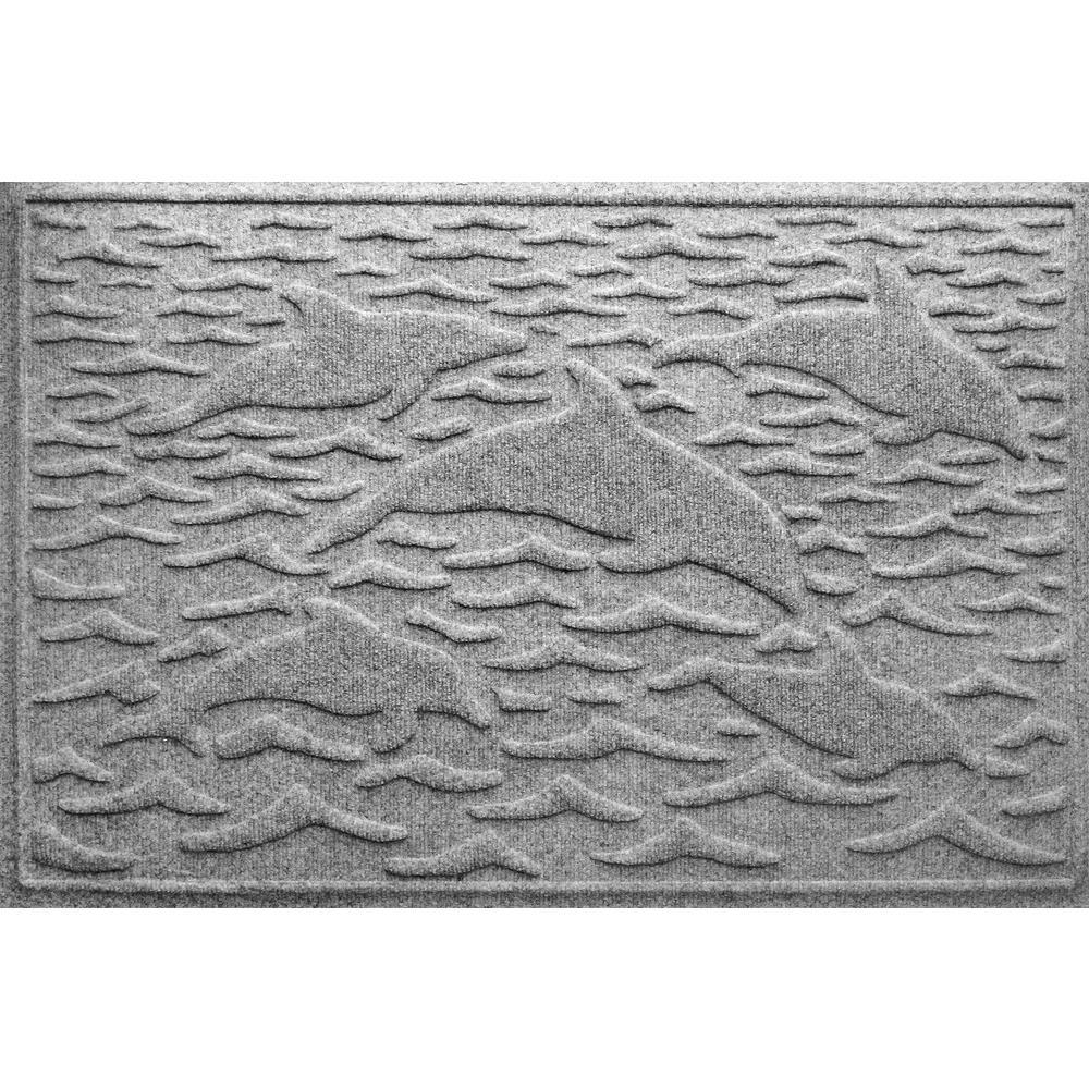 Medium Gray 24 in. x 36 in. Statement of Porpoise Polypropylene Door Mat