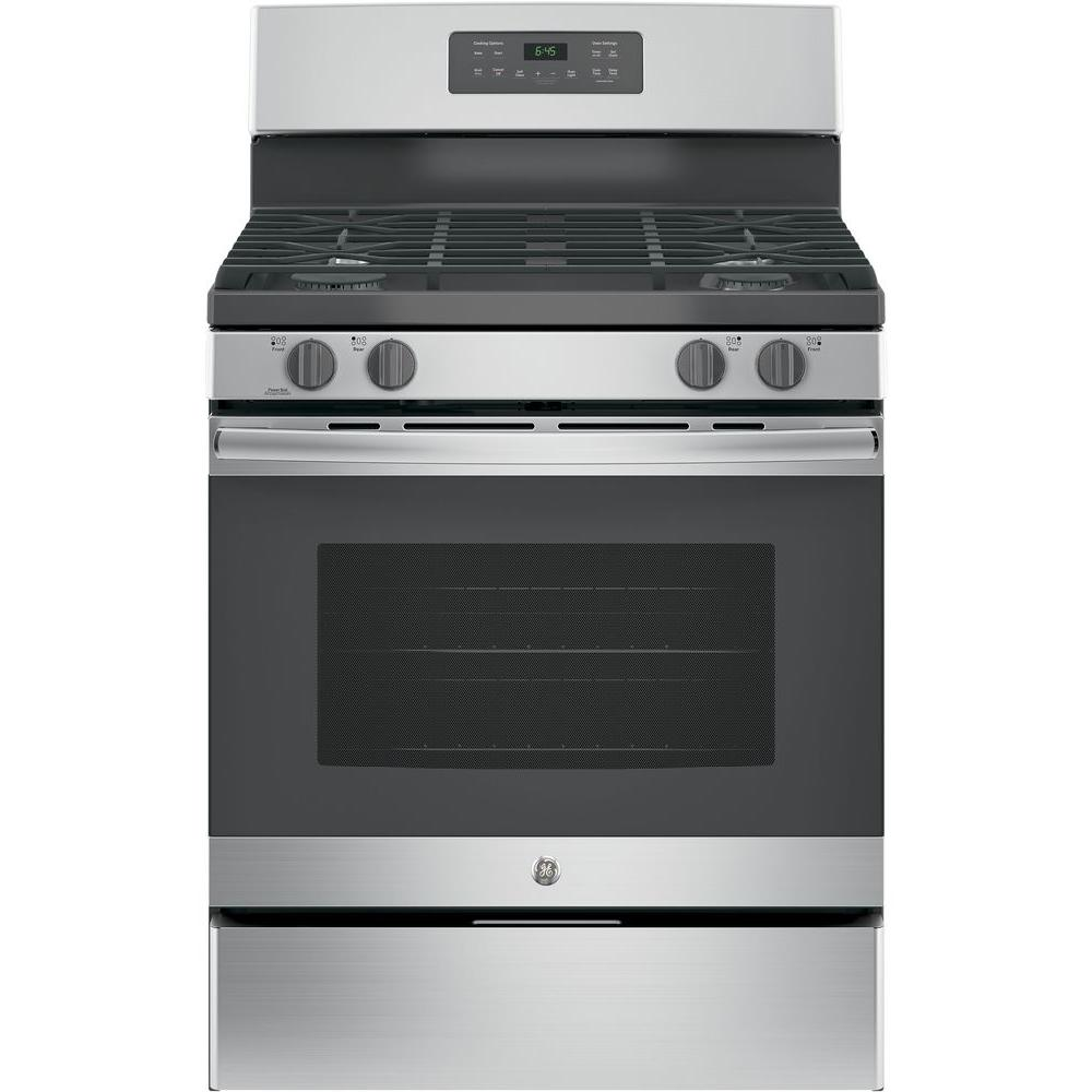 Ge 5 0 Cu Ft Gas Range With Self Cleaning Oven In Stainless