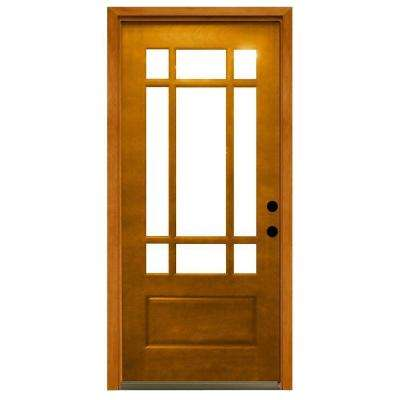 Doors with glass wood doors the home depot craftsman 9 lite stained mahogany wood prehung front