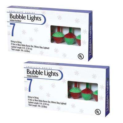 9 ft. Long Bubble Light Strings with 7 Multi Colored Outdoor Lights (Pack Of 2)