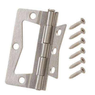 3-1/2 in. x 1-1/2 in. Satin Nickel Non-Mortise Hinges (2-Pack)