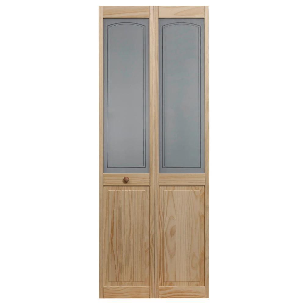 29.5 in. x 78.625 in. Mezzo Glass Over Raised Panel Frost 1/2-Lite Pine Wood Interior Bi-Fold Door