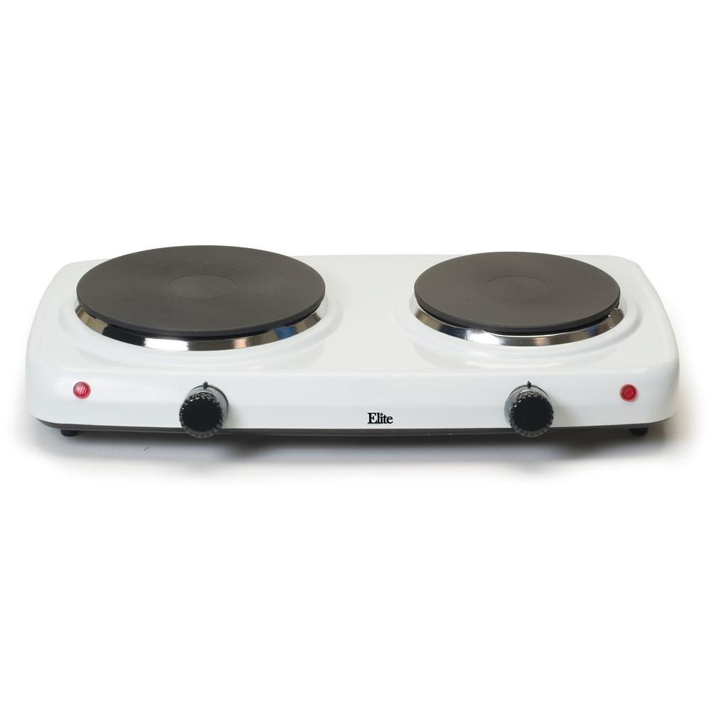 Double Burner Hot Plate, White