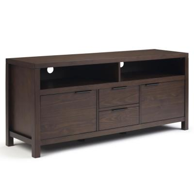 Auster Solid Wood 60 inch Wide Contemporary Modern TV Media Stand in Warm Walnut Brown For TVs up to 65 inches