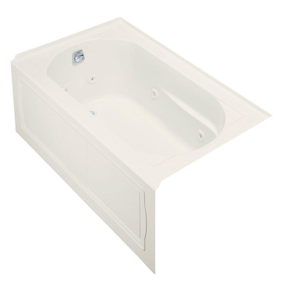 KOHLER Devonshire Bubblemassage 5 Ft. Left Hand Drain Integral Farmhouse Apron  Bathtub With Heater