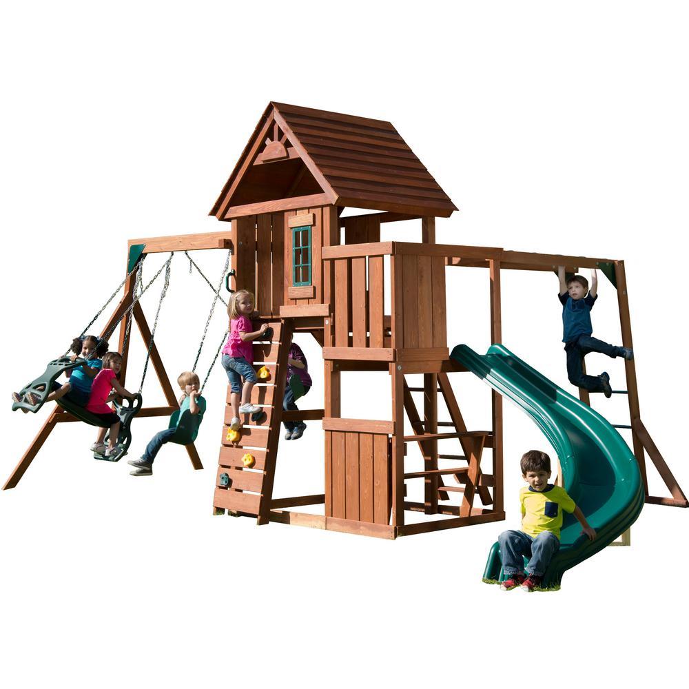 Swing-N-Slide Playsets Cedarbrook Deluxe Wood Complete Playset with Chalkboard