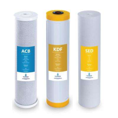 Whole House Heavy Metal Filter Set 3 Stage Filtration Water Filter Sediment, Carbon, KDF 4.5 x 20