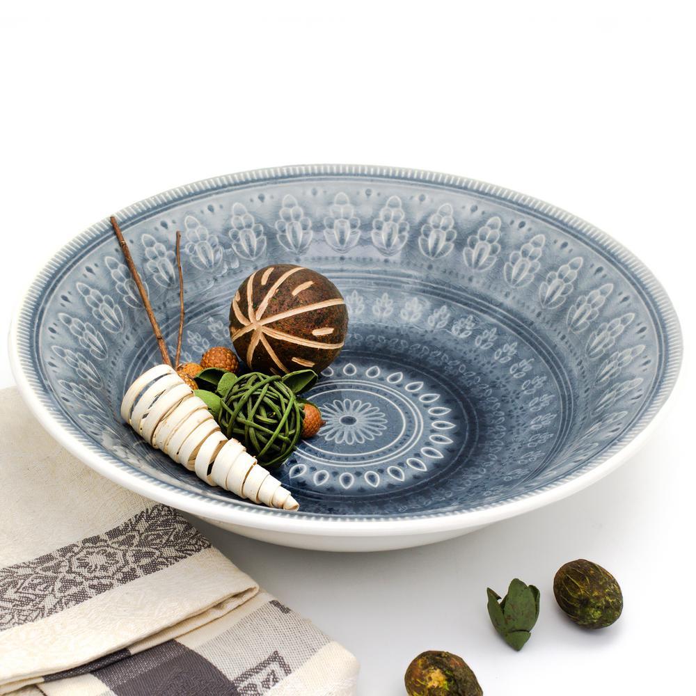 Fez Grey Crackle-Glaze Serving Bowl