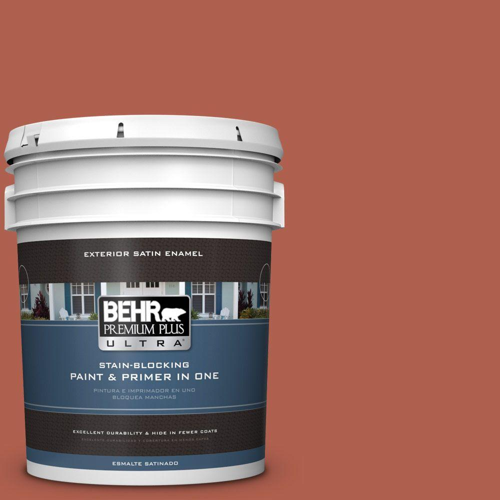 BEHR Premium Plus Ultra 5-gal. #BIC-46 Clay Red Satin Enamel Exterior Paint