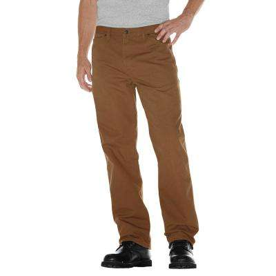 Men's 32 in. x 32 in. Brown Relaxed Fit Duck Jean