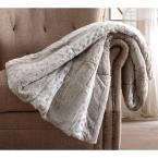 Snow Leopard Fur Filled Neutral Throw with Gift Box