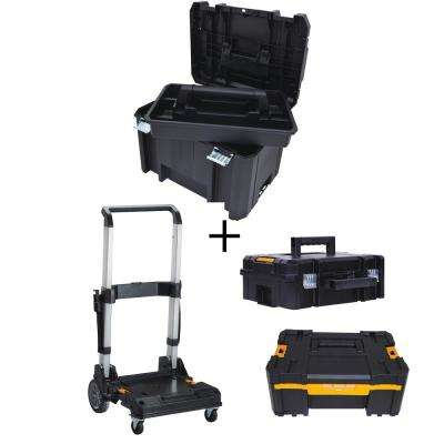 TSTAK VI 17 in. Tool Box, TSTAK II Tool Box, TSTAK III Organizer and Trolley Storage System Combo Set (4 Components)