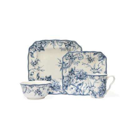 16-Piece Adelaide Blue and White Dinnerware Set