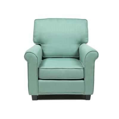 Delphine Blue Contemporary Padded Linen Arm Chair