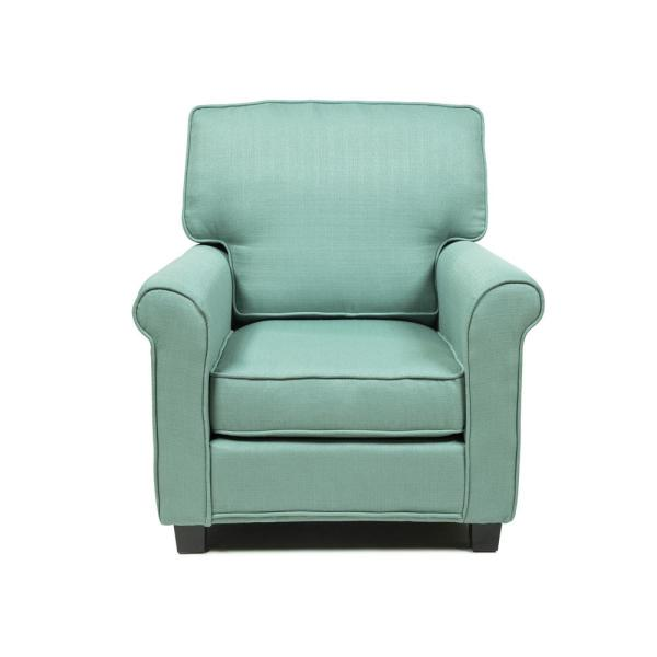 Furniture of America Delphine Blue Contemporary Padded Linen Arm Chair