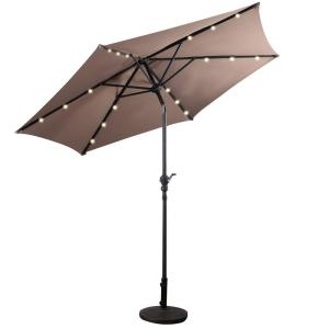 9 ft. LED Steel Market Tilt Patio Solar Umbrella with Crank Outdoor in Tan