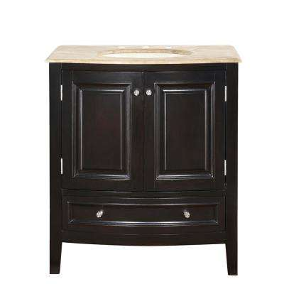 32 in. W x 22 in. D Vanity in Dark Espresso with Stone Vanity Top in Travertine with Ivory Basin