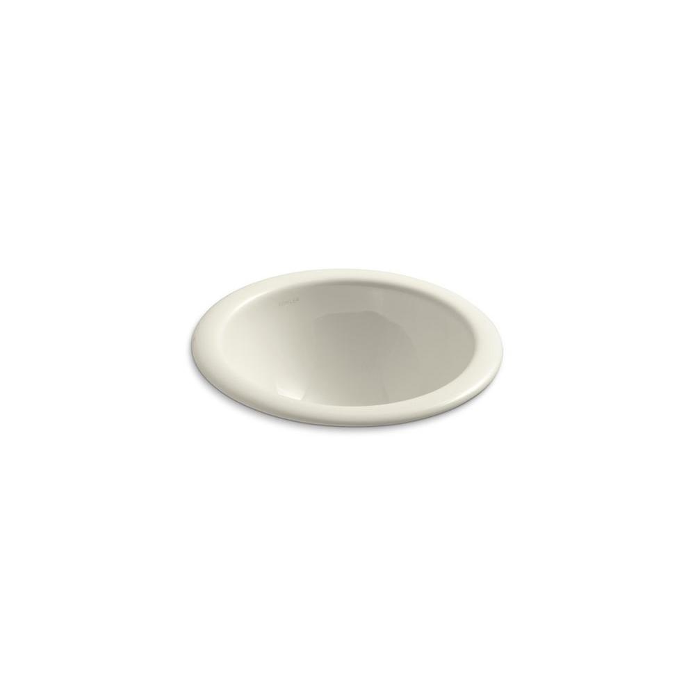 KOHLER Compass Drop-In Vitreous China Bathroom Sink in Biscuit