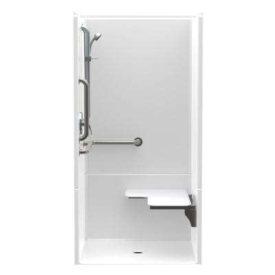 Accessible AcrylX 36 in. x 36 in. x 75 in. 2-Piece ANSI Shower Stall w/ Right Seat and Grab Bars in White