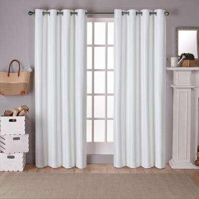 Raw Silk 54 in. W x 84 in. L Woven Blackout Grommet Top Curtain Panel in Off-White (2 Panels)