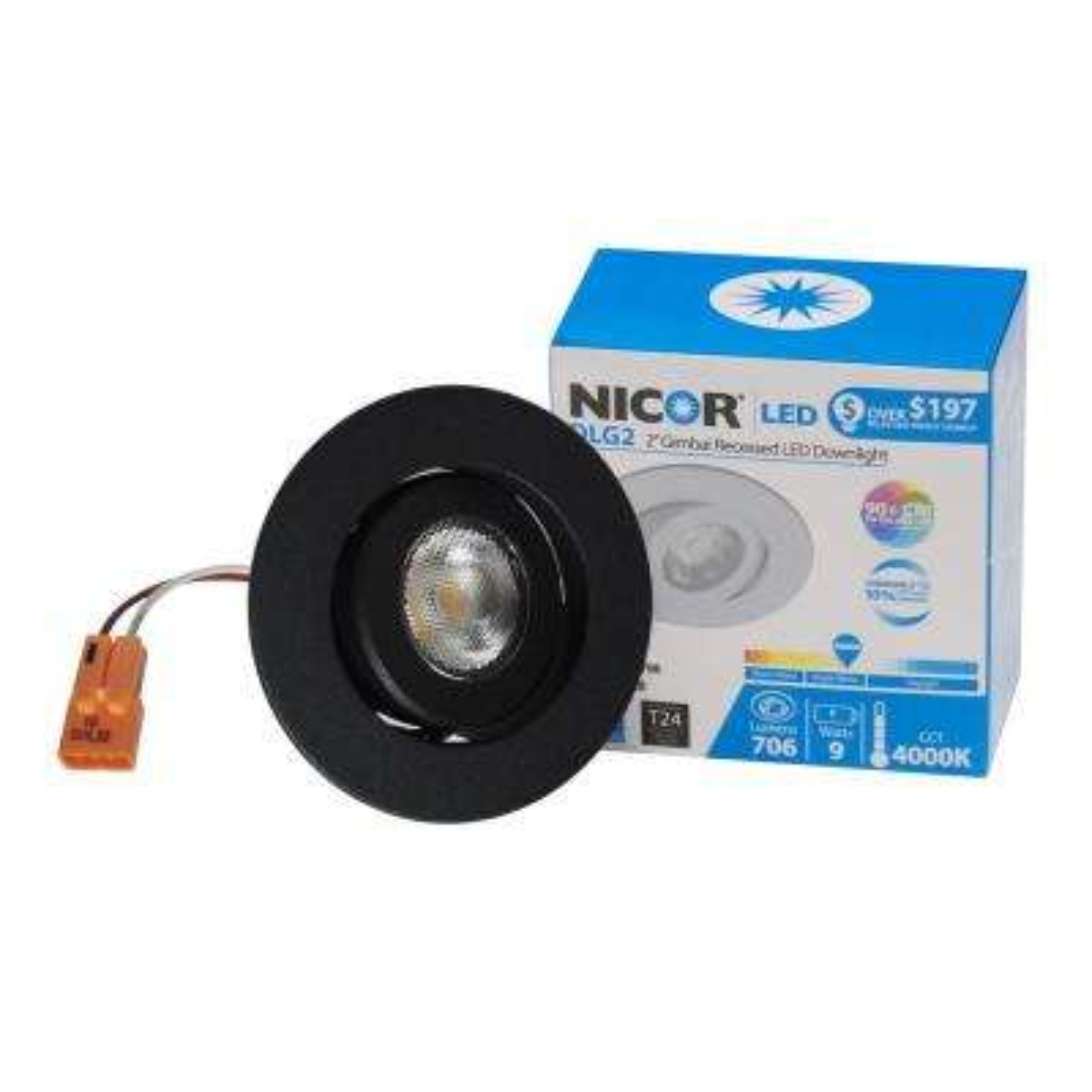 NICOR 2 in. Black (3000K) LED Retrofit Recessed Gimbal Trim Kit, 92.4 CRI