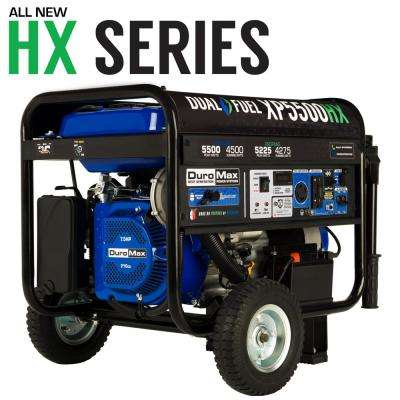 5,500-Watt/4,500-Watt Electric Rocker Start Dual Fuel Gas/Propane Powered Portable Generator, CO Sensor Jobsite/RV Ready