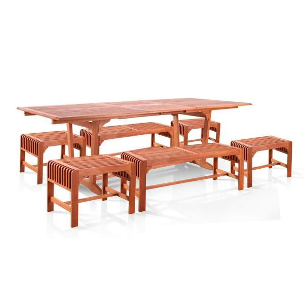 Malibu 7-Piece Wood Outdoor Dining Set Extention Table with Backless Benches and Stools