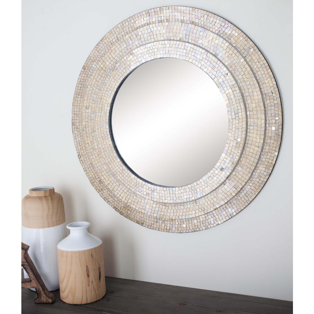 30 in. Modern Beige Mosaic Framed Wall Mirror