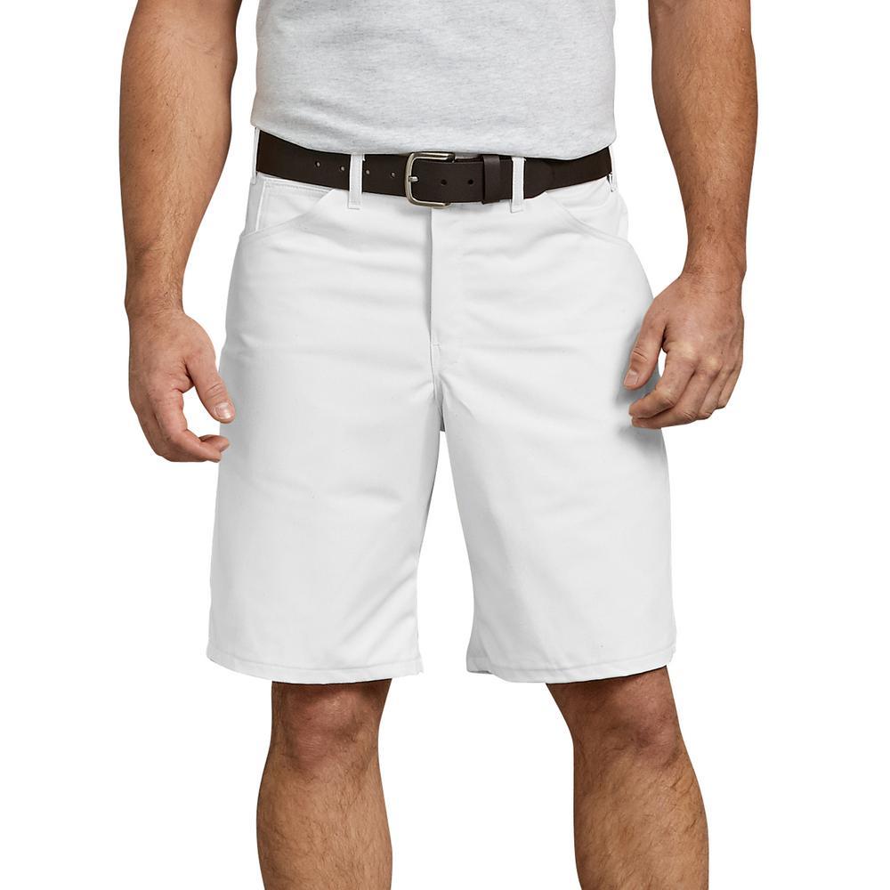 """Men's White 10"""" Relaxed Fit Utlity Painters Short"""