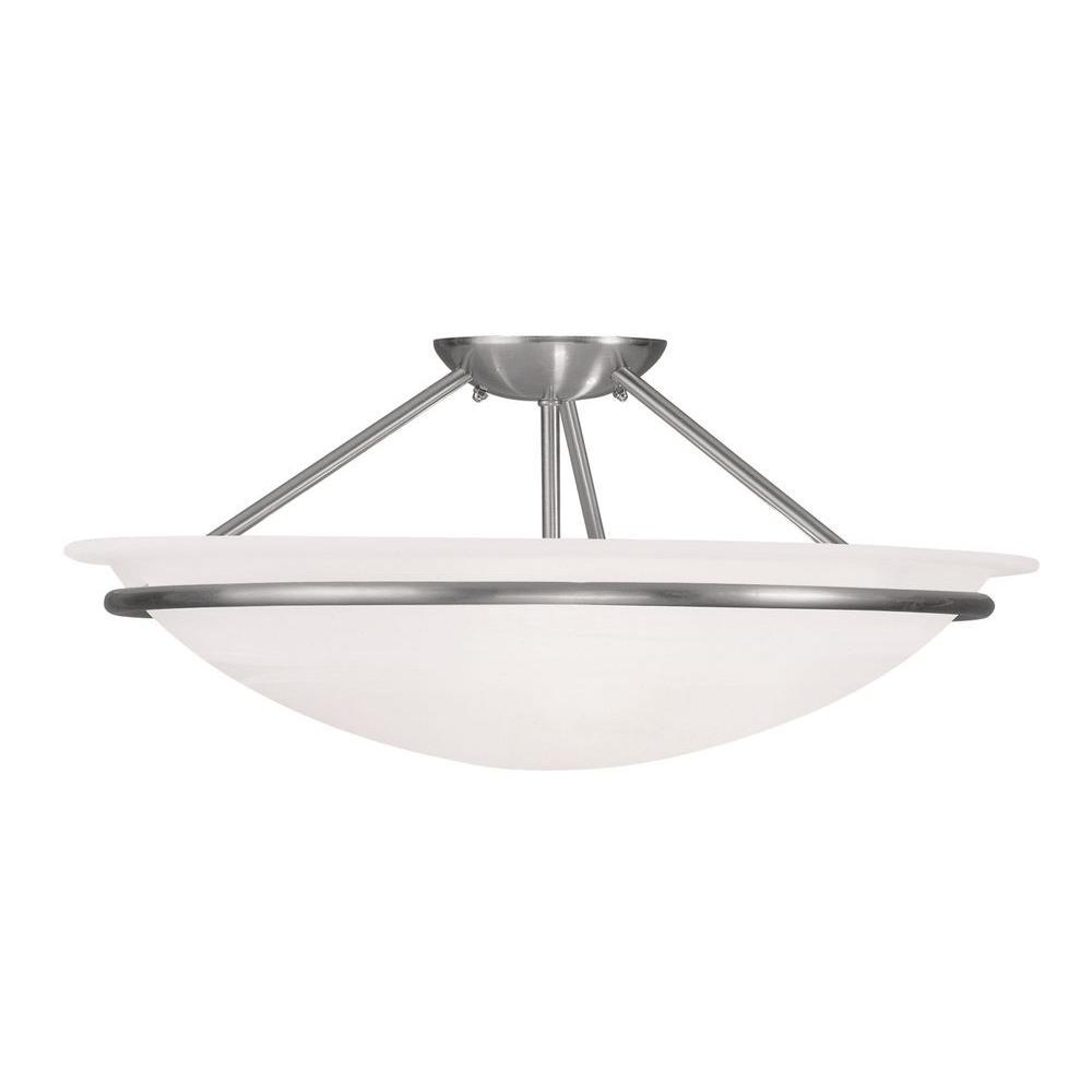 Livex Lighting Providence 3-Light Ceiling Brushed Nickel Incandescent Semi-Flush Mount