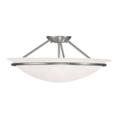 Providence 3-Light Ceiling Brushed Nickel Incandescent Semi-Flush Mount