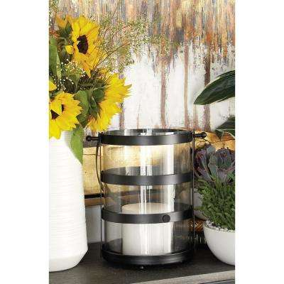 16 in. Modern Black Metal and Glass Candle Lantern