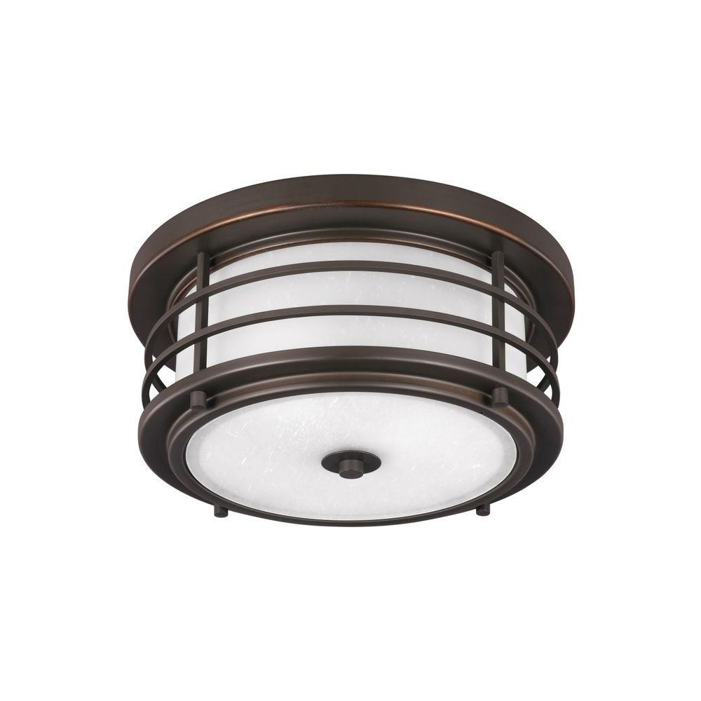 Sauganash 2-Light Antique Bronze Ceiling Light