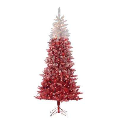 Flocked Red Ombre Artificial Christmas Tree with 500 Clear Lights
