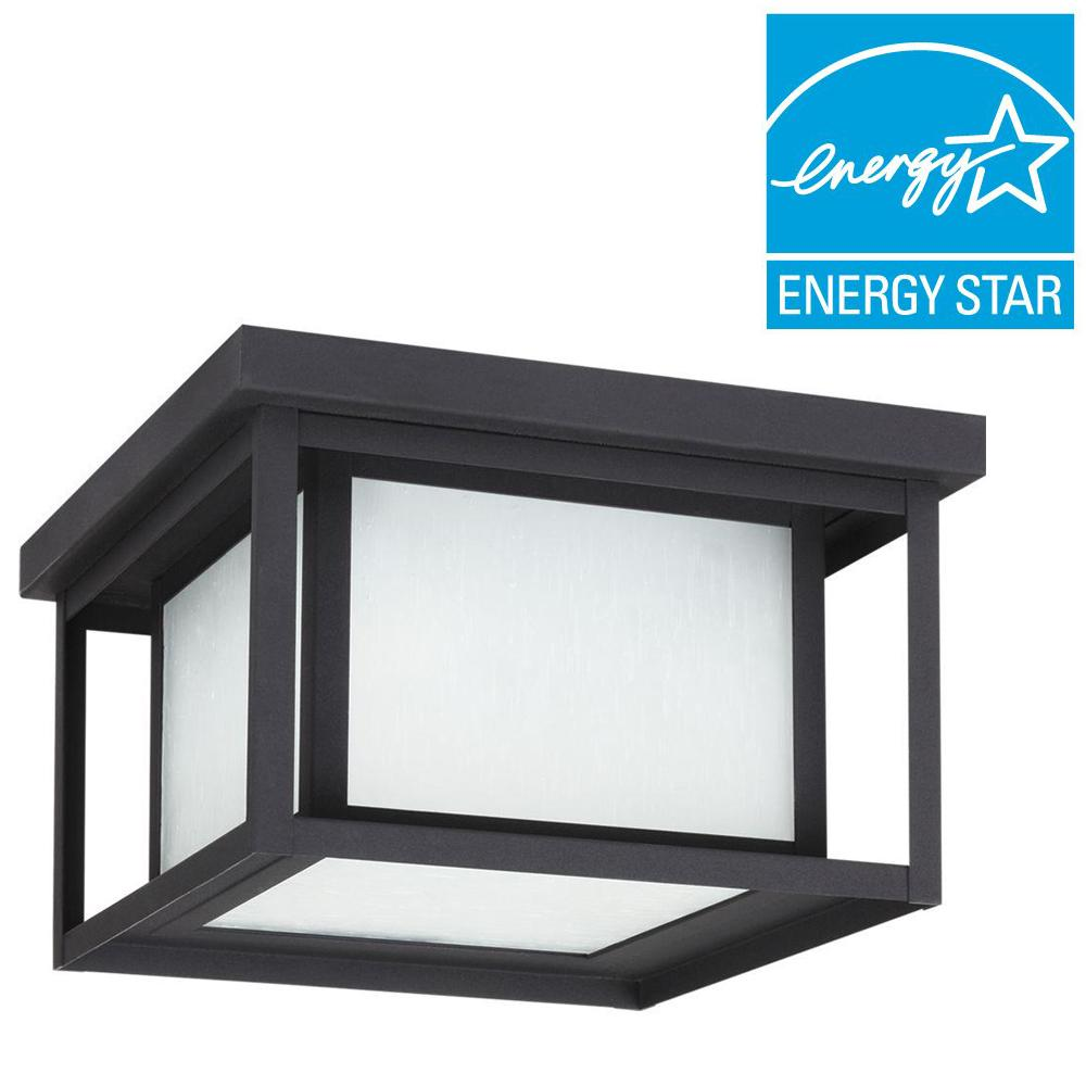 Sea Gull Lighting Hunnington 2-Light Outdoor Black Fluorescent Flushmount with Seeded Etched Glass