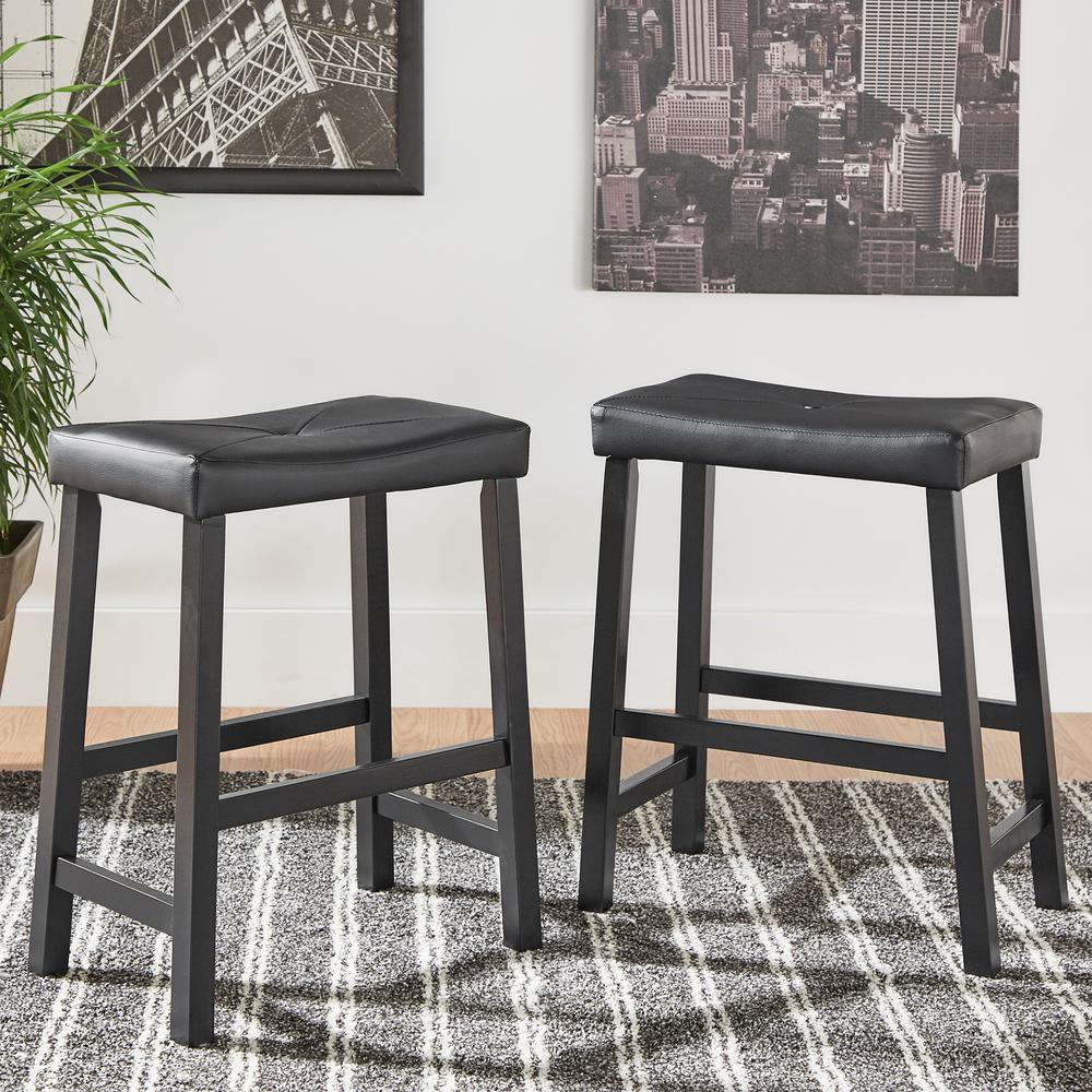 24 In Black Cushioned Bar Stool Set Of 2 405310bk 243a2pc