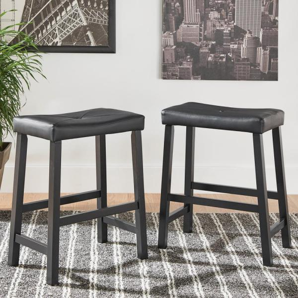 undefined 24 in. Black Cushioned Bar Stool (Set of 2)