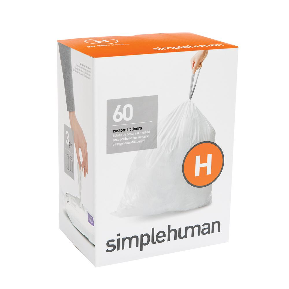 simplehuman 9 Gal. Custom Fit Trash Can Liner, Code H (60...