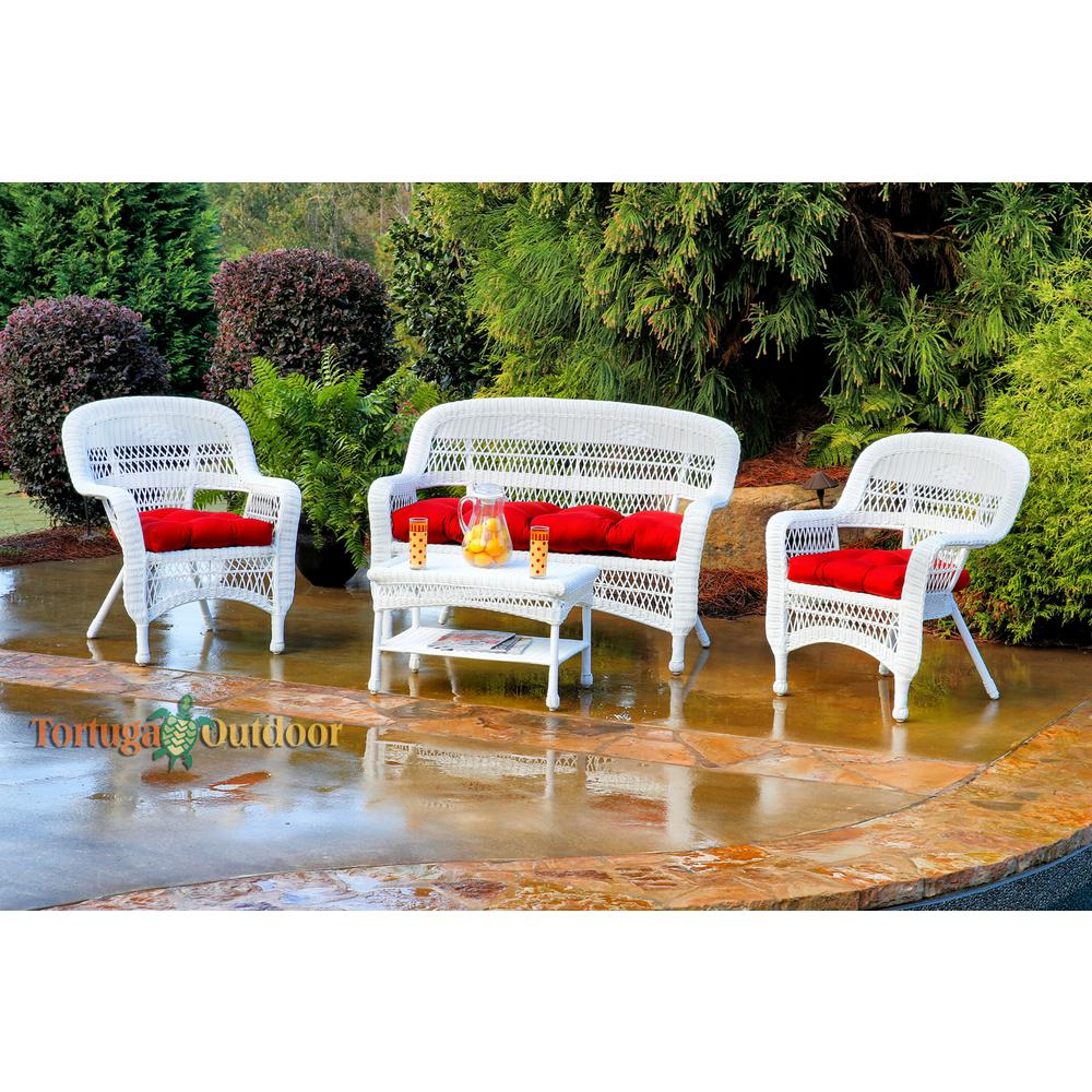 Tortuga Outdoor Portside White 4-Piece Wicker Patio Seating Set with Lipstick Red Cushions