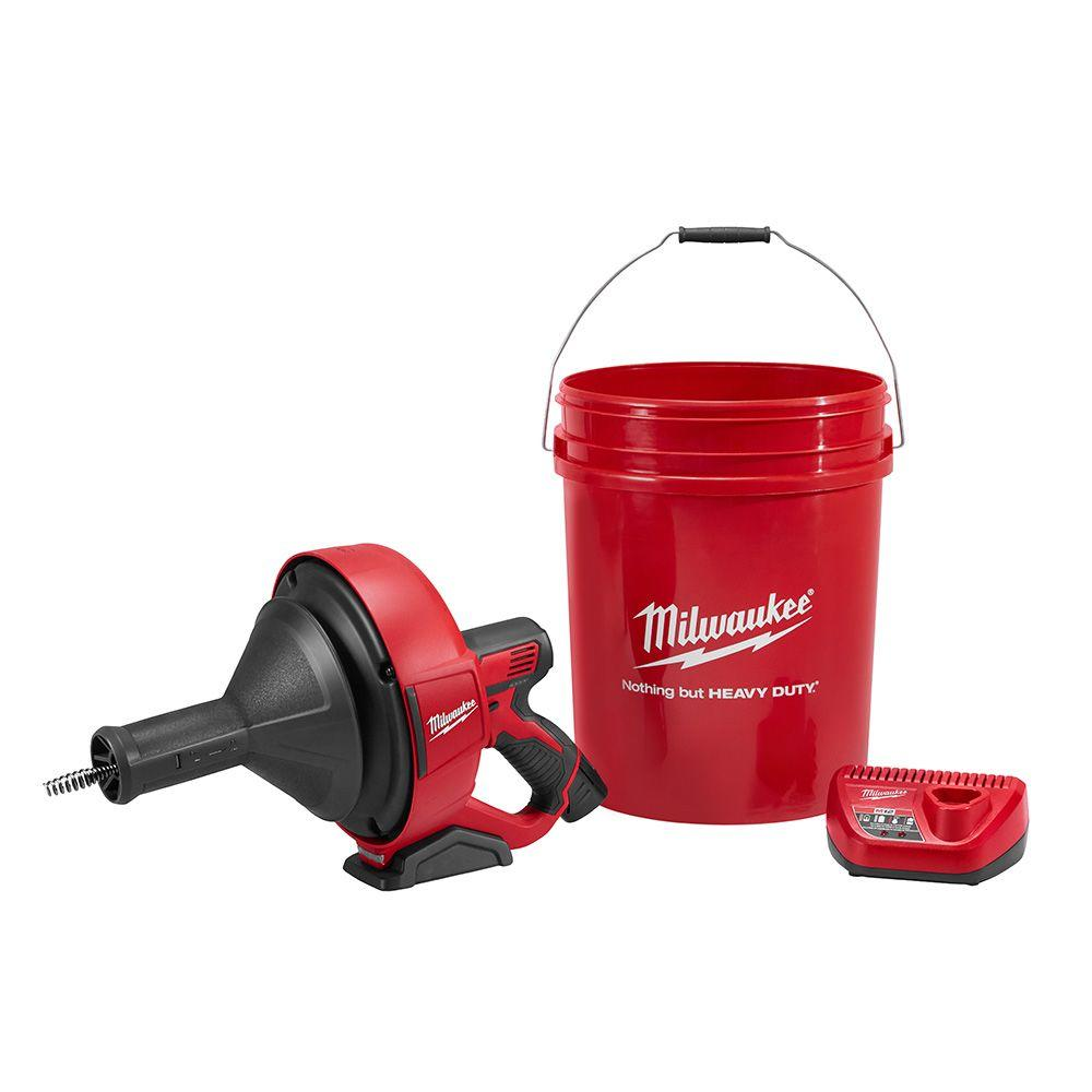 Milwaukee M12 12-Volt Lithium-Ion Cordless Auger Snake Drain Cleaning Kit W/