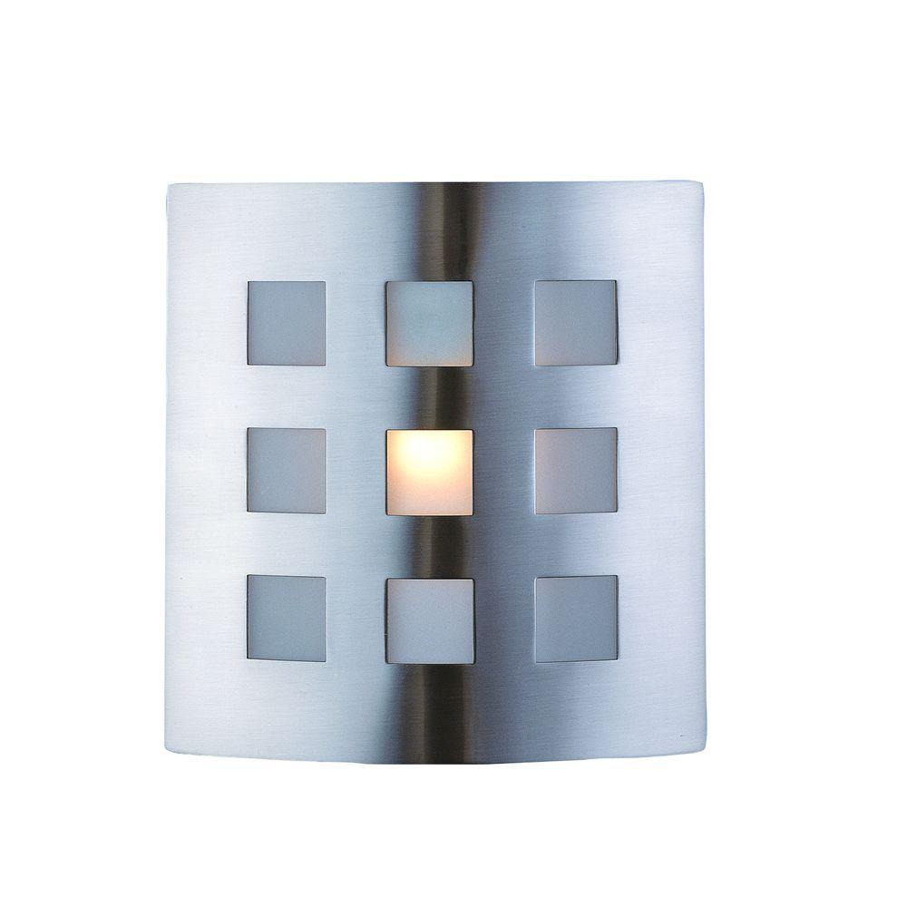 Hampton Bay Sonio 1 Light Brushed Nickel Wall Sconce With Glass Panels