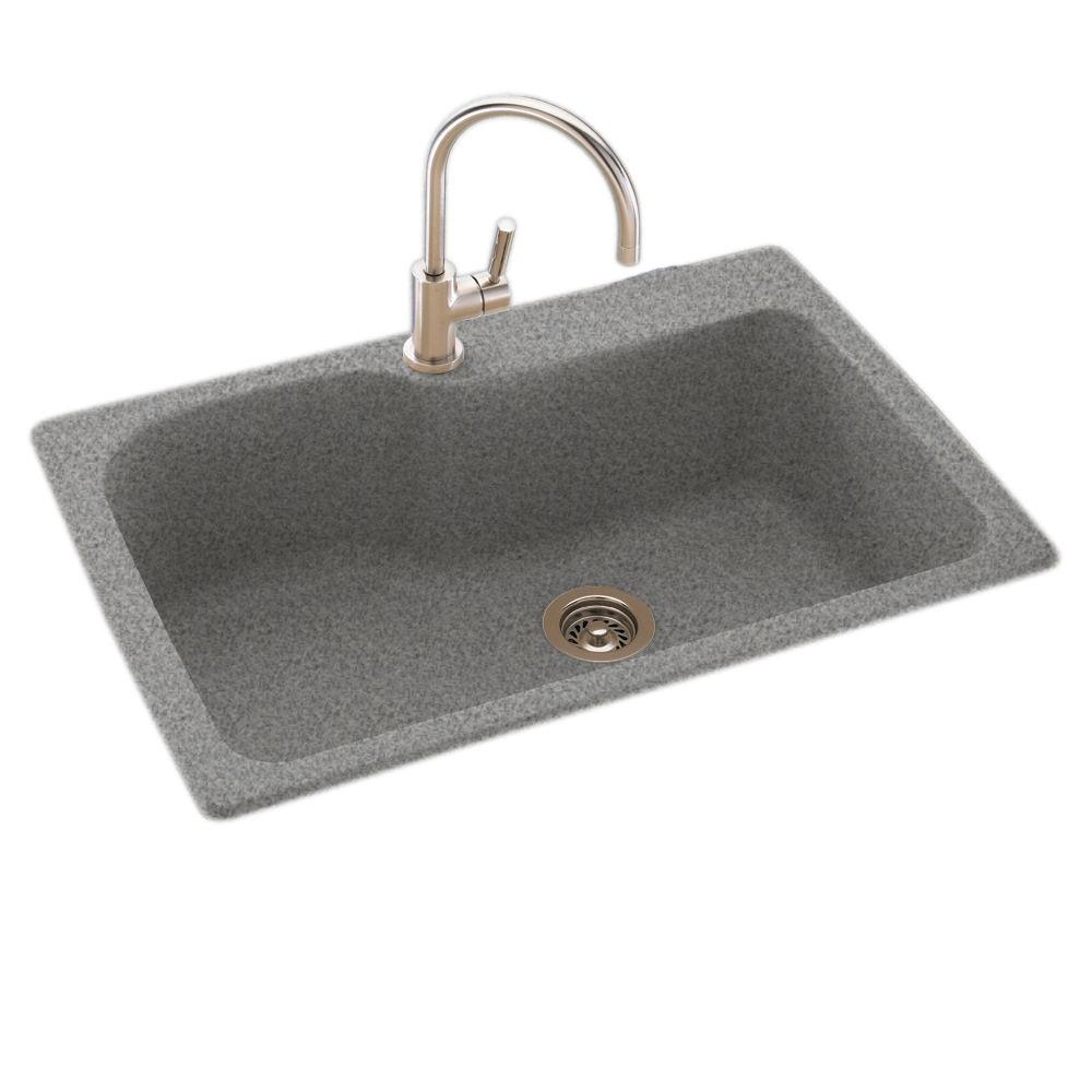 Granite Kitchen Sink: Swan Drop-In/Undermount Solid Surface 33 In. 1-Hole Single
