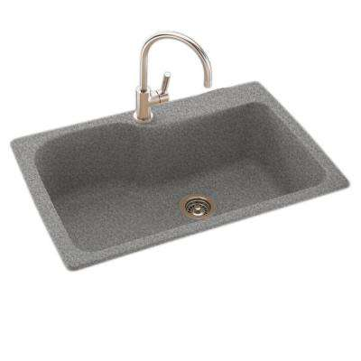 Drop-In/Undermount Solid Surface 33 in. 1-Hole Single Bowl Kitchen Sink in Gray Granite