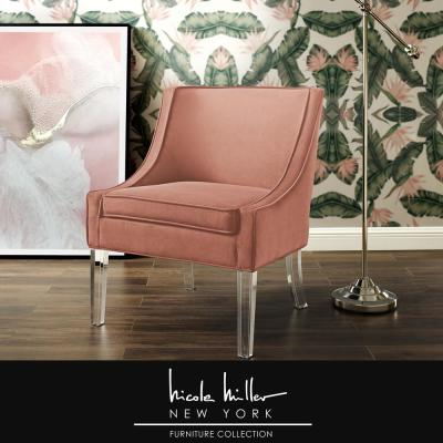 Terrance Blush Velvet Accent Chair with Upholstered Armless